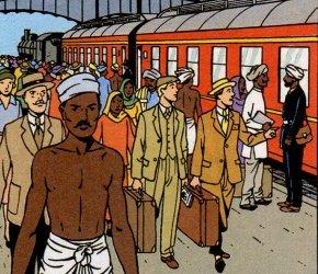 Train au départ, Inde
